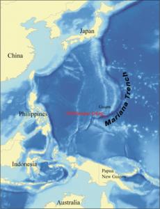 Mapa fosa Marianas
